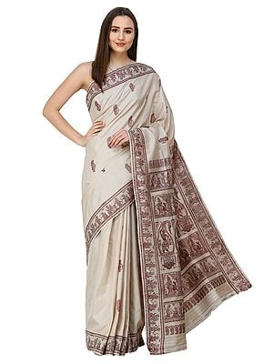Light-Grey Baluchari Sari from Bengal with Hand-woven Mahabharta Episodes on Pallu