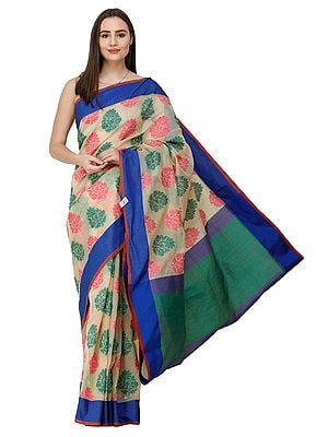 French-Vanilla Handloom Sari from Banaras with Woven Flowers