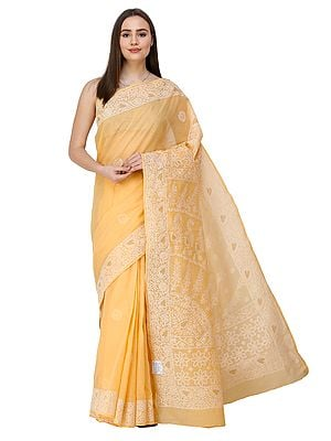 Amber-Yellow Sari from Lucknow with Chikan Embroidery by Hand
