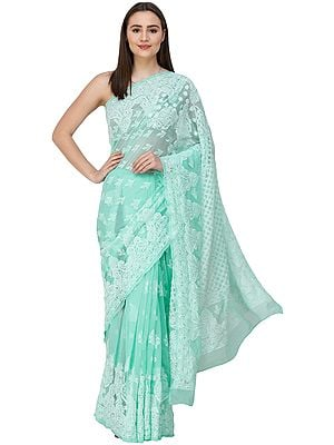Brook-Green Lukhnavi Chikan Sari with Hand-Embroidered Paisleys