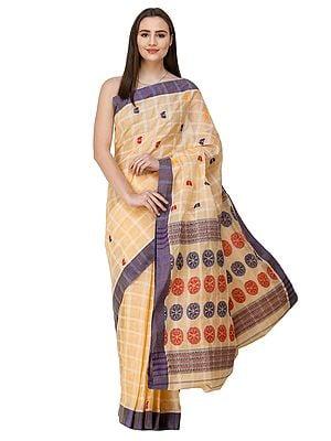 Sunburst Handloom Sari from Assam with Woven Chariot Wheels on Pallu