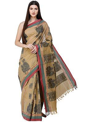Starfish Kanji-Cotton Handloom Sari from Chennai with Woven Giant Peacocks