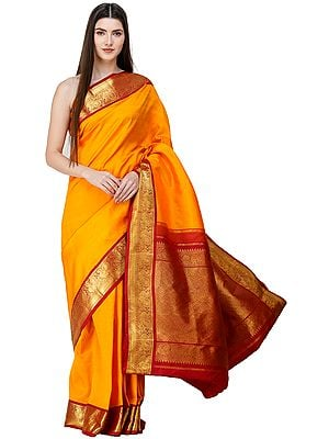 Bright-Marigold Brocaded Kanjivaram Sari from Chennai with Intricate Work on Pallu