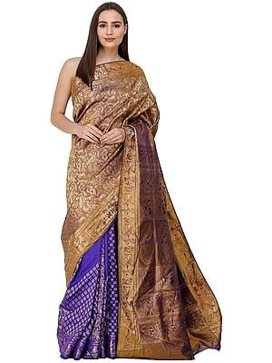 Dazzling-Blue Baluchari Sari from Bengal with Hand-Woven Apsaras on Anchal