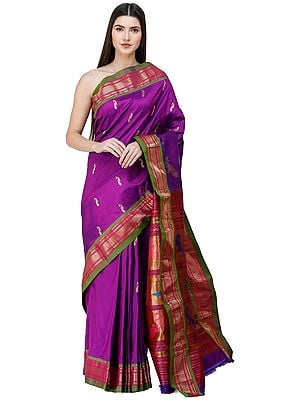 Tillandsia-Purple Brocaded Paithani Handloom Sari from Maharashtra with Zari-Woven Peacocks on Anchal