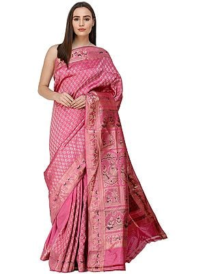 Fuchsia-Pink  Baluchari Sari from Bengal with Hand-Woven Scenes from Ramayana on Anchal