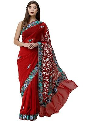 Ribbon-Red  Sari from Kashmir with Ari-Embroidered Multicolor Flowers