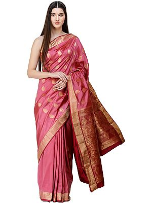 Wild Rose Uppada Handloom Sari from Bangalore with Golden Bootis