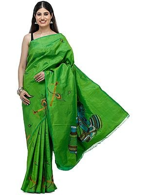 Balkrishna Embroidered Pure Silk Sari with Peacock Motifs  from Chennai