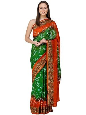 Mint-Green and Orange Bandhani Sari from Rajasthan with Zari Weave on Border