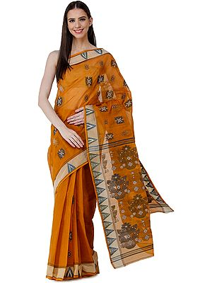 Tangail Sari from Kolkata with Woven Flowers on Anchal