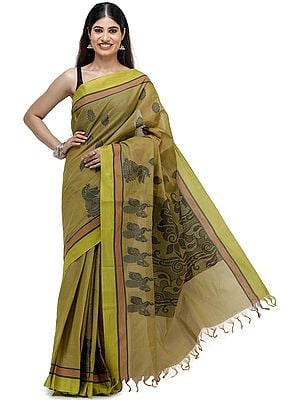 Olive-Green Tangail Sari from Kolkata with Woven Pattern on Anchal and Peacock Border