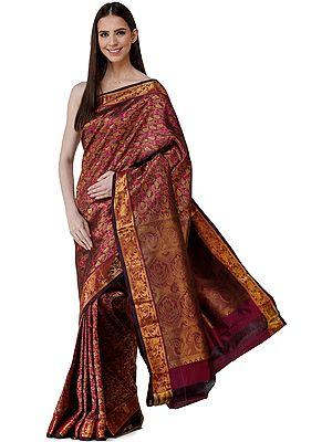 Magenta-Purple Uppada Sari from Bangalore with Zari-Woven Leaves - All Over