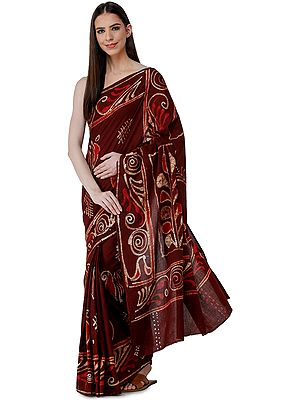 Rum-Raisin Batik Sari from Madhya Pradesh with Bold Motifs