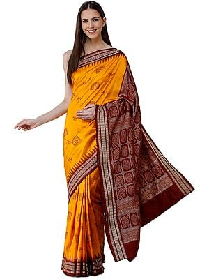 Radiant-Yellow Bomkai Sari from Orissa with Tribal Motifs and Hand-Woven Mandala Patterns on Pallu