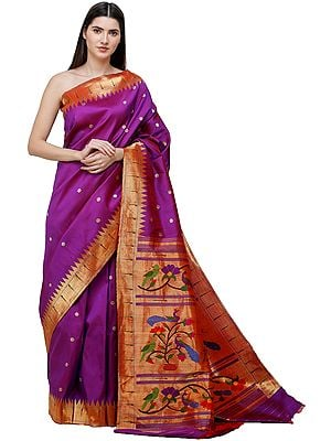 Byzantium-Purple Brocaded Paithani Handloom Sari from Maharashtra with Zari-Woven Munia Pallu