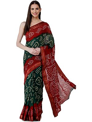 Garnet-Red and Dark-Green Bandhani Sari from Rajasthan with Woven Border