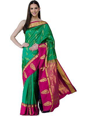 Jolly-Green Uppada Sari from Bangalore with Zari-Woven Bootis on Pallu