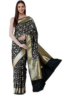 Banarasi Sari with Woven Animals in Zari Thread - All Over