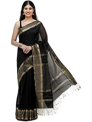 Black-Beauty Maheshwari Handloom Sari with Golden Thread Weave on Border and Pin-Stripes