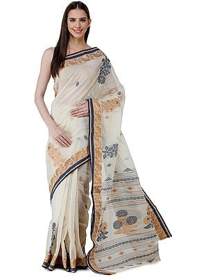 Seedpearl Purbasthali Handloom Sari from Bengal with Woven Border and Pallu