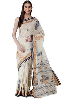 Seedpearl Purbasthali Handloom Sari from Bengal with Woven Border and Pallu