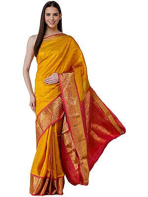 Golden-Yellow Brocaded Sari from Bangalore with Self-Weave and Peacocks on Border