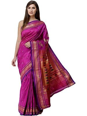 Beautyberry-Purple Brocaded Paithani Handloom Sari from Maharashtra with Zari-Woven Peacocks on Anchal
