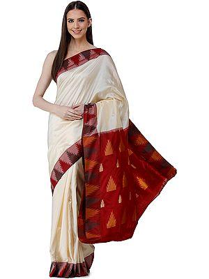 Vanilla-Custard Uppada Handloom Sari from Bangalore with Woven Temple Border