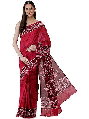 Sangria-Pink Batik Sari from Madhya Pradesh with Bold Floral Motifs