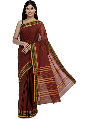 Rosewood Venkatagiri Sari from Chennai with Zari-Woven Border and Checks