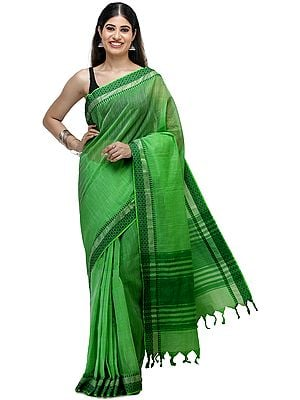 Classic-Green South-Cotton Handloom Sari from Chennai with Woven Border