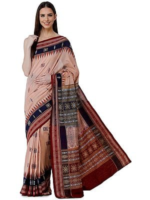 Maple-Sugar Handloom Sari from Sambhalpur with Ikat Weave Temple Border and  Heavy Woven Pallu
