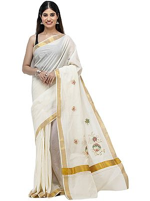 Antique-White Kasavu Sari from Kerala with Embroidered Floral Patches and Golden Border