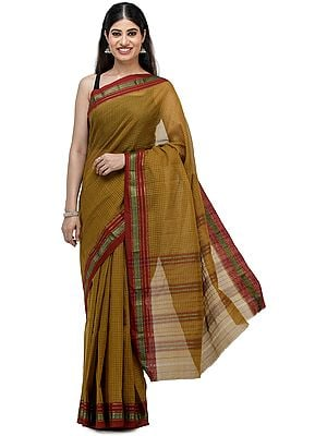 Golden-Palm Venkatagiri Cotton Sari from Chennai with Zari-Woven Border and Woven Checks