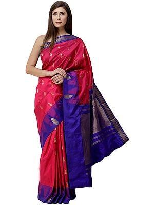 Fuchsia-Purple Uppada Handloom Sari from Bangalore with Woven Temple Border and Golden Pallu