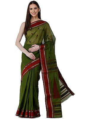 Kale-Green Purbasthali Handloom Sari from Bengal with Giant Woven Temple Pallu