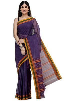 Purple-Passion Venkatagiri Sari from Chennai with Zari-Woven Border and Woven Checks