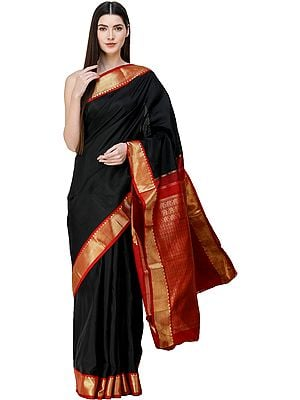 Caviar-Black Kanjivaram Sari from Tamil Nadu with Zari-Woven Motifs on Anchal