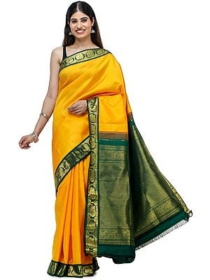 Bright-Marigold Brocaded Kanjivaram Sari from Chennai with Intricate Weave on Pallu