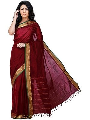 Garnet-Red Kanji-Cotton Sari from Chennai with Zari-Woven Border and Tassels