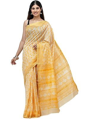 Sunset-Gold Maheshwari Handloom Sari from Madhya Pradesh with Block Printed Motifs and Woven Pin-Stripes