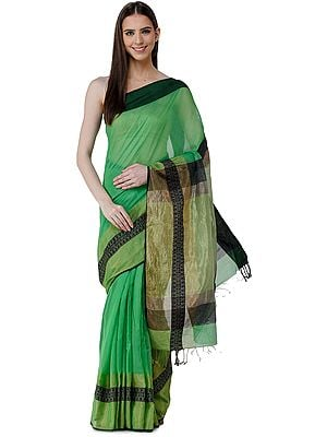 Jade-Green Cotton-Silk Sari from Chennai with Zari Woven Patterns on Border and Pallu