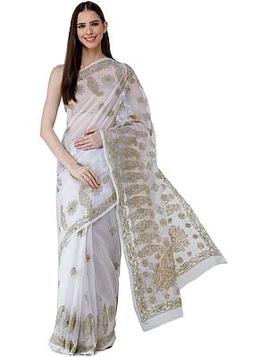 Onyx-White Sari from Lucknow with Chikan Hand-Embroidered Paisleys and Flowers on Anchal