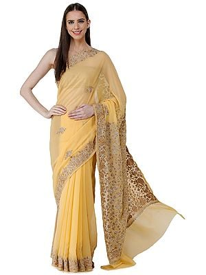 Sunset-Gold Sari from Kashmir with Tonal Ari-Embroidered Flowers and Silver Zari Accents