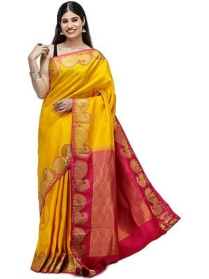 Amber-Yellow Brocaded Silk Sari from Chennai with Peacocks on Border and Bootis in Self