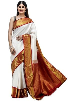 Vanilla-White Brocaded Silk Sari from Chennai with Elephants on Border and Bootis in Self