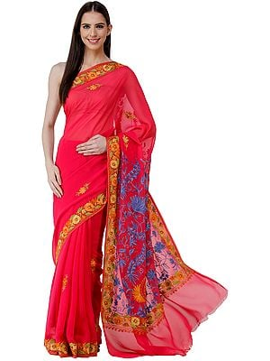 Virtual-Pink Sari from Kashmir with Ari-Embroidered Multicolor Flowers