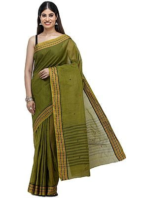 Olive-Green Tant Sari from Bengal with Woven Border and Stripes on Pallu