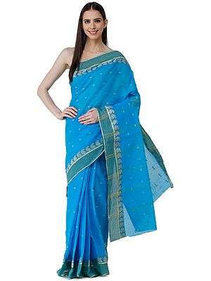 Vivid-Blue Tant Sari from Bengal with Woven Border and Stripes on Pallu